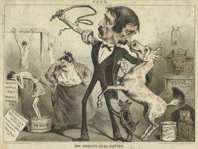 """הנרי ברג - קריקטורה המציגה אותו כאוהב בע""""ח אך שונא אדם - מאה 19. הנרי ברג (1813 – 1888) היה אחד החלוצים המרכזיים במאבק לזכויות בעלי חיים באמריקה וזכה לכינוי 'המלאך במגבעת'. הוא פעל נמרצות נגד התעללות בסוסים ונגד קרבות כלבים – פעולות אשר ייחסו לו שנאה כלפי בני אדם (משום שפגע בפרנסת העגלונים ומפעילי הקרבות). ברג היה נתון תחת מתקפה תקשורתית וחברתית ואף תחת איומים על חייו, אך המשיך בפועלו. בנוסף, הקים את הארגון הראשון בעולם נגד התעללות בילדים."""