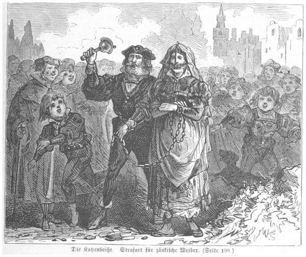 תהלוכת הבושה - אישה מרוסנת מובלת ברחבי העיר לקול הפעמון - למען יראו ויראו כל הנשים הסוררות. איור משנת 1880