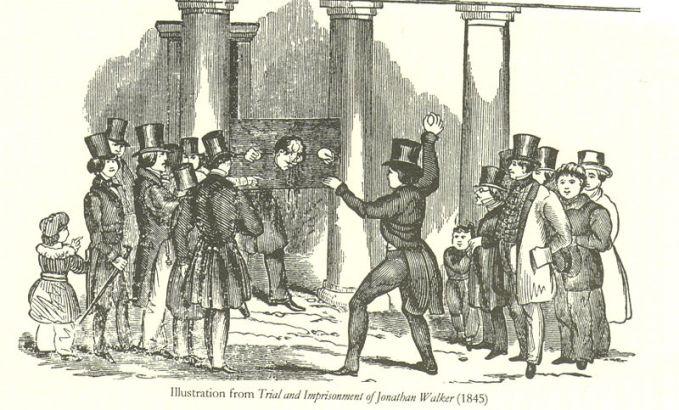 ג'ונתן ווקר קשור לעמוד הבושה, וג'ורג' ווילס זורק עליו ביצים רקובות